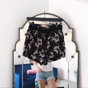 Zara NWT black zebra shorts paper bag waist